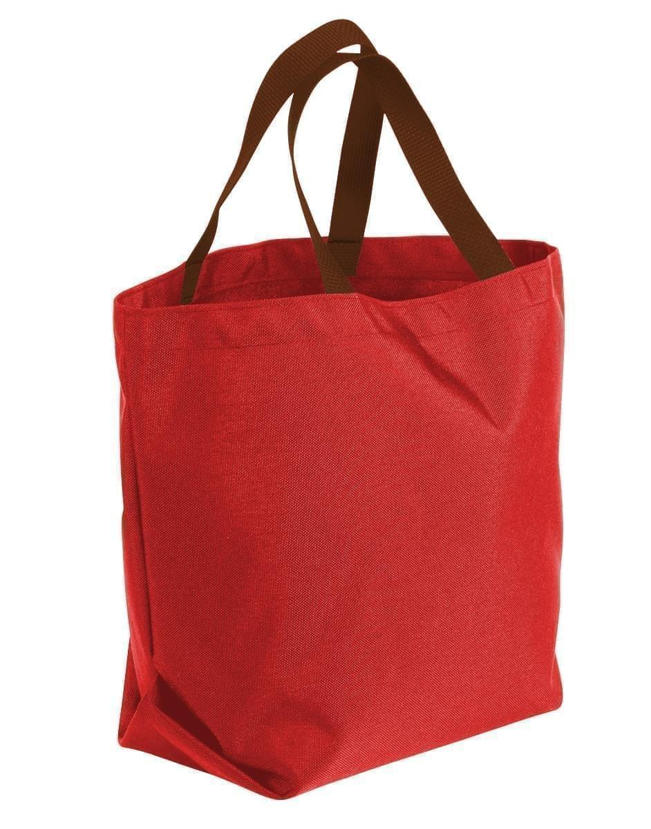 USA Made Canvas Grocery Tote Bags, Red-Brown, 2BAD31UAES