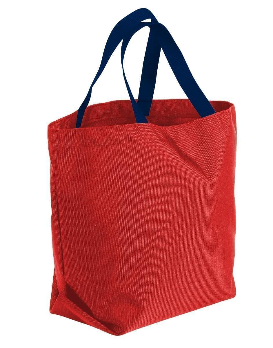 USA Made Canvas Grocery Tote Bags, Red-Navy, 2BAD31UAEZ