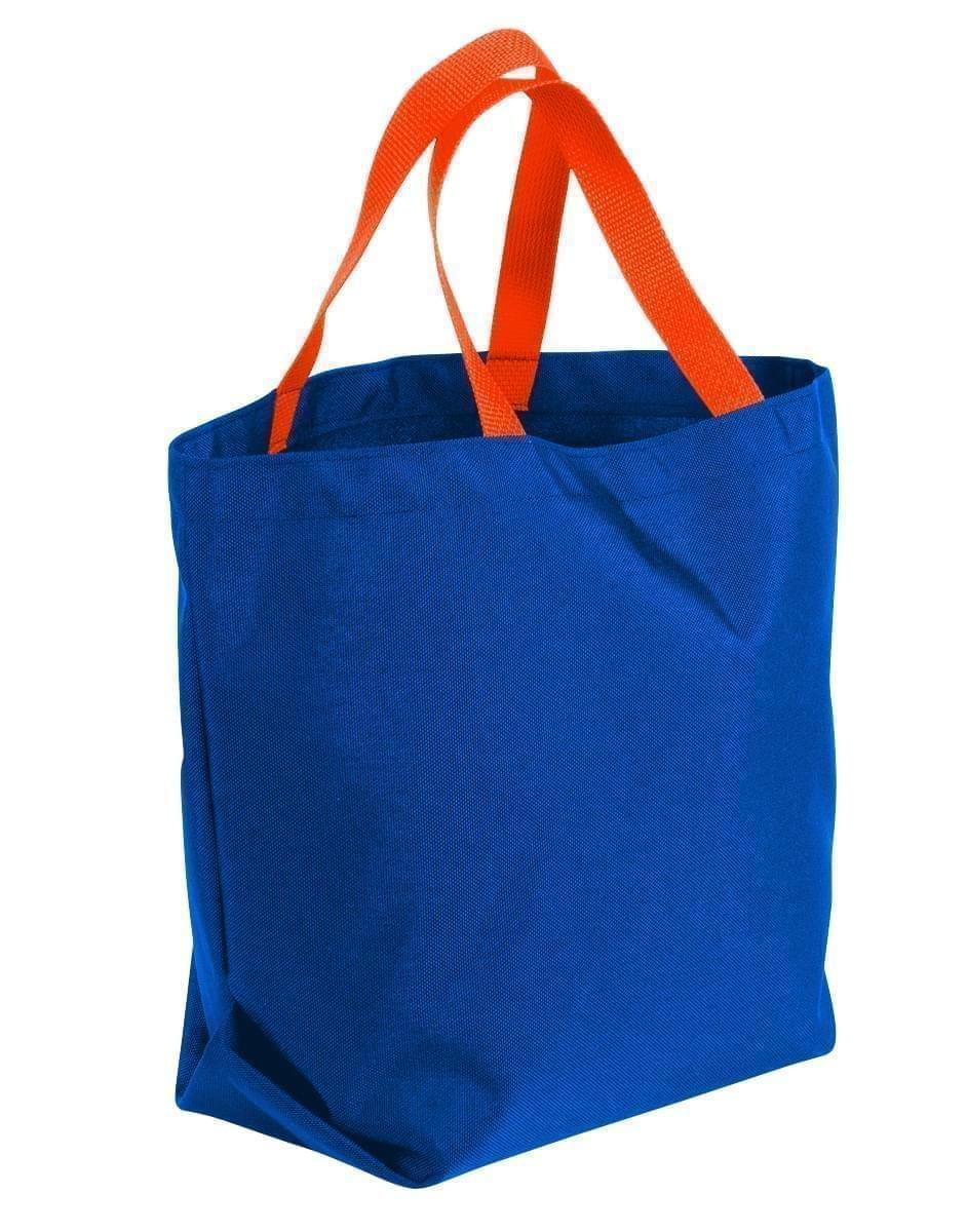 USA Made Canvas Grocery Tote Bags, Royal Blue-Orange, 2BAD31UAF0