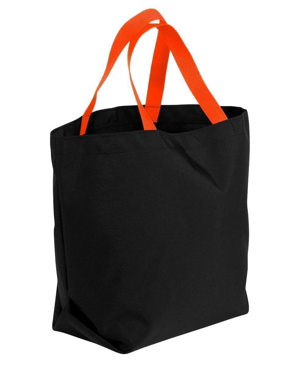 USA Made Canvas Grocery Tote Bags, Black-Orange, 2BAD31UAH0