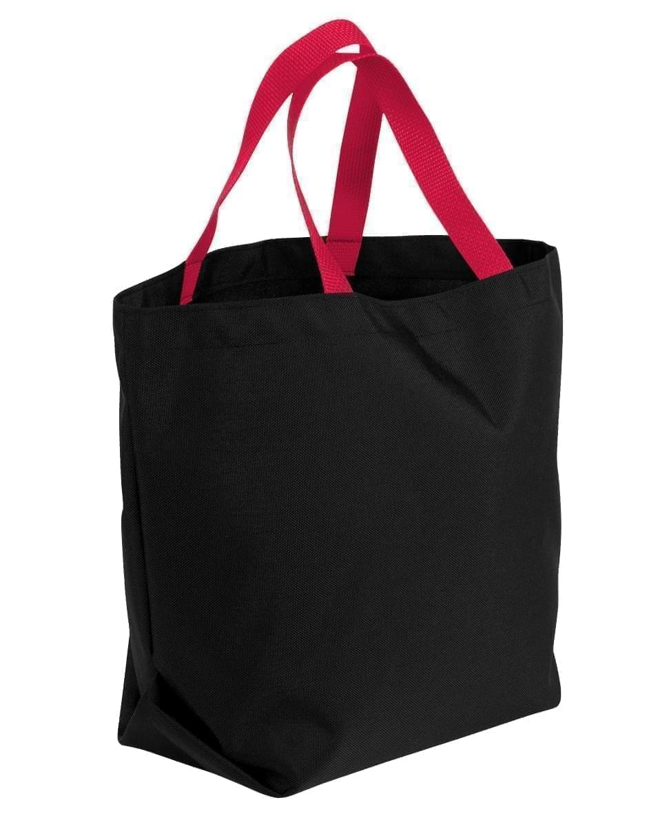 USA Made Canvas Grocery Tote Bags, Black-Red, 2BAD31UAH2
