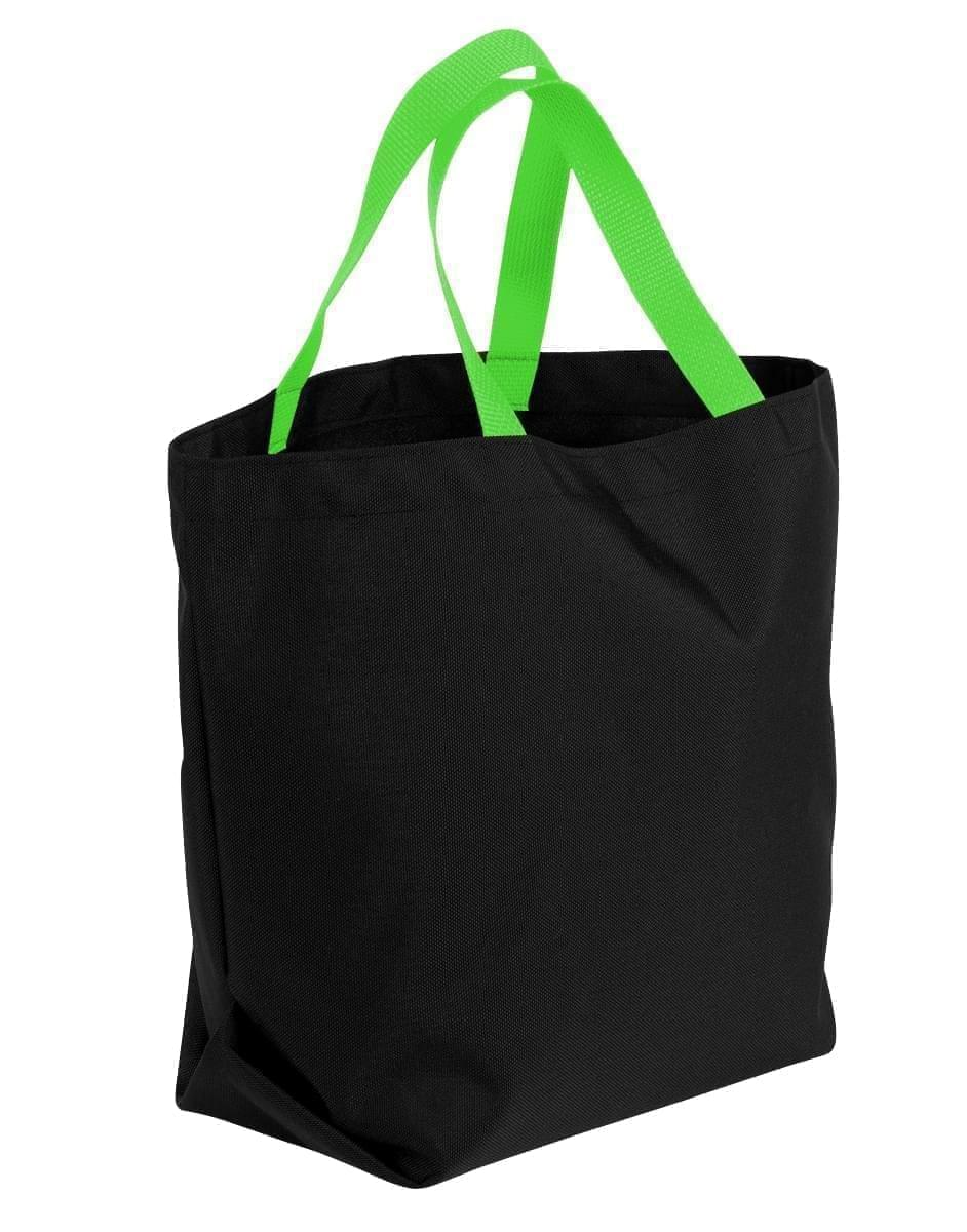 USA Made Canvas Grocery Tote Bags, Black-Lime, 2BAD31UAHY