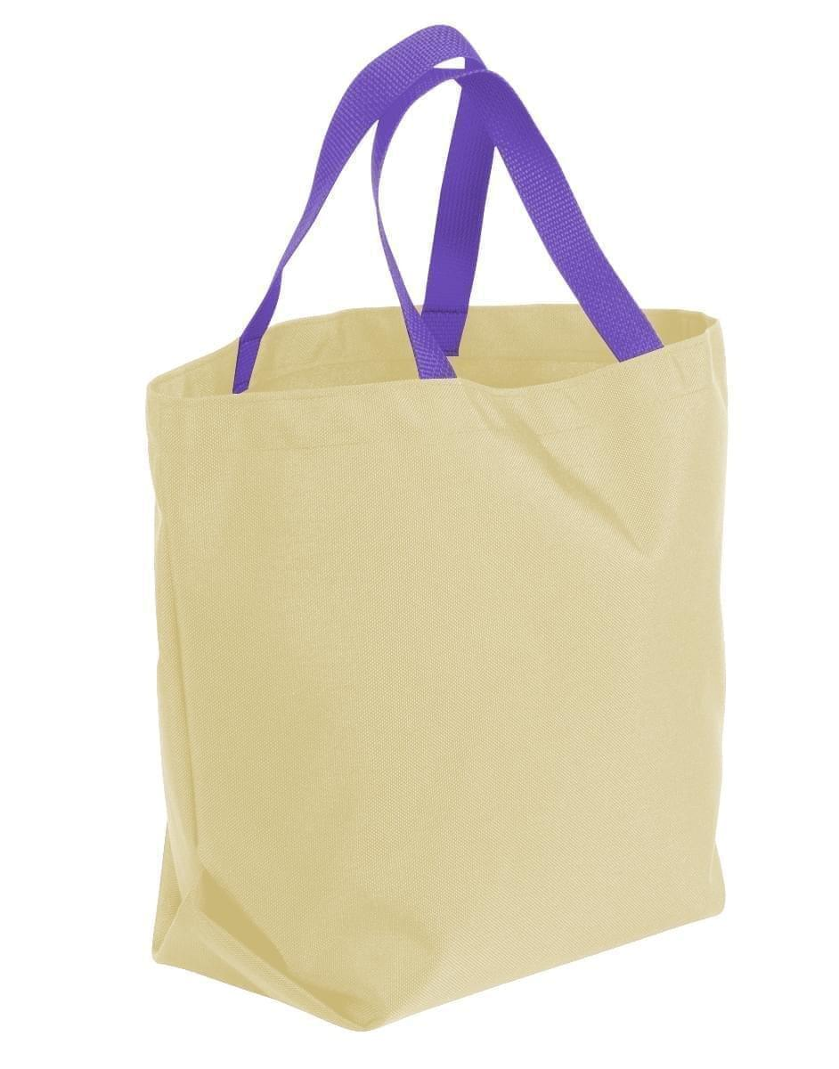 USA Made Canvas Grocery Tote Bags, Natural-Purple, 2BAD31UAK1