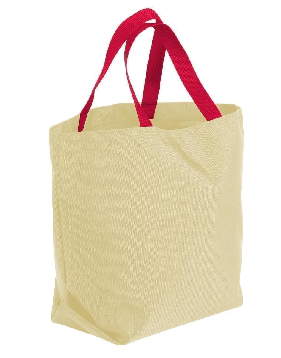 USA Made Canvas Grocery Tote Bags, Natural-Red, 2BAD31UAK2