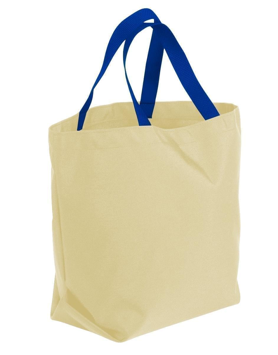 USA Made Canvas Grocery Tote Bags, Natural-Royal Blue, 2BAD31UAK3