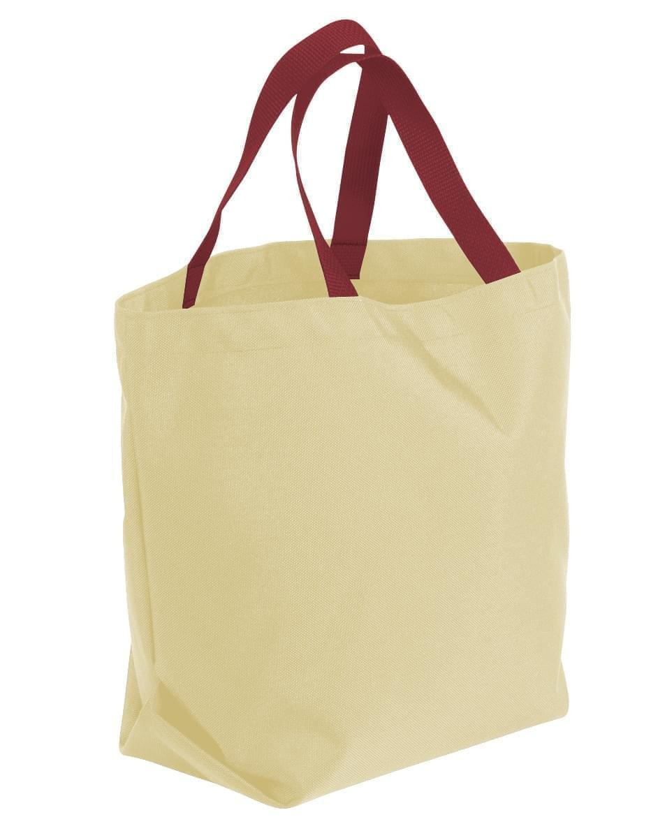 USA Made Canvas Grocery Tote Bags, Natural-Burgundy, 2BAD31UAKE
