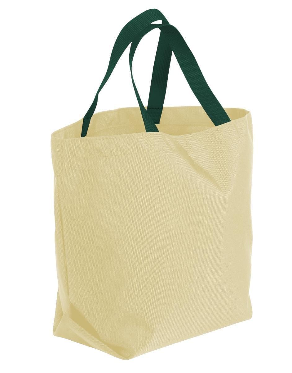 USA Made Canvas Grocery Tote Bags, Natural-Hunter Green, 2BAD31UAKV