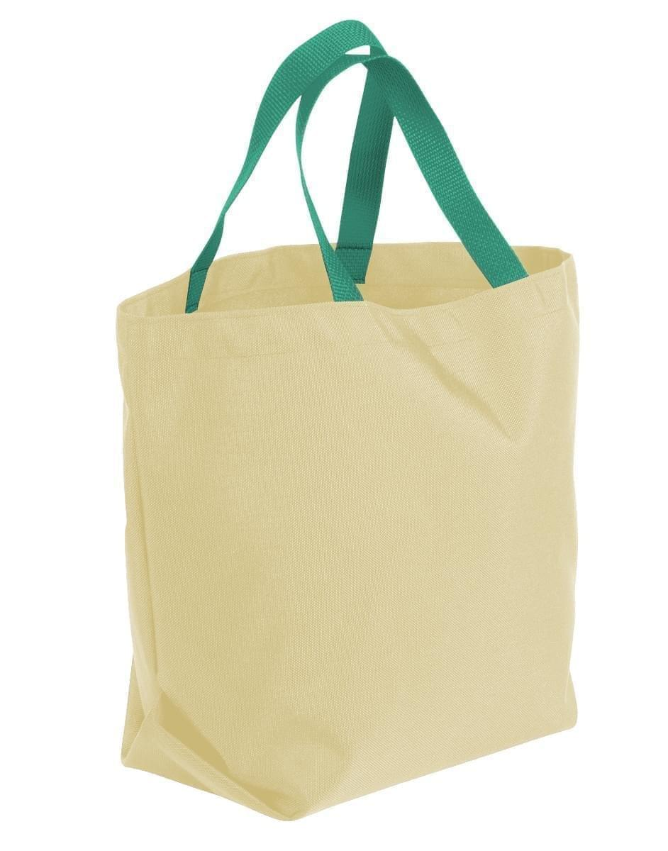 USA Made Canvas Grocery Tote Bags, Natural-Kelly Green, 2BAD31UAKW