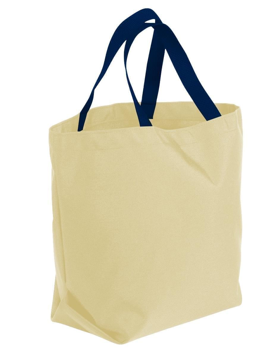 USA Made Canvas Grocery Tote Bags, Natural-Navy, 2BAD31UAKZ