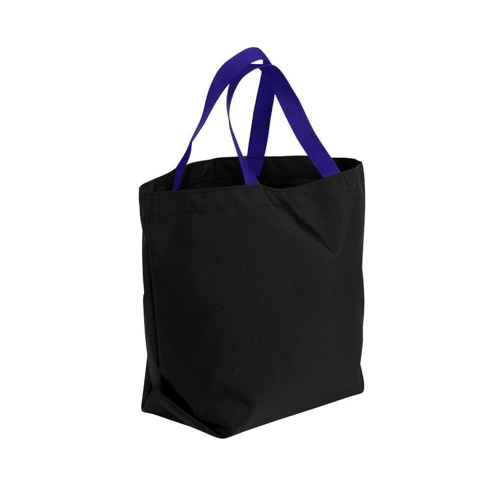 USA Made Poly Convention Expo Tote Bags, Black-Purple, 2BAD31UAO1