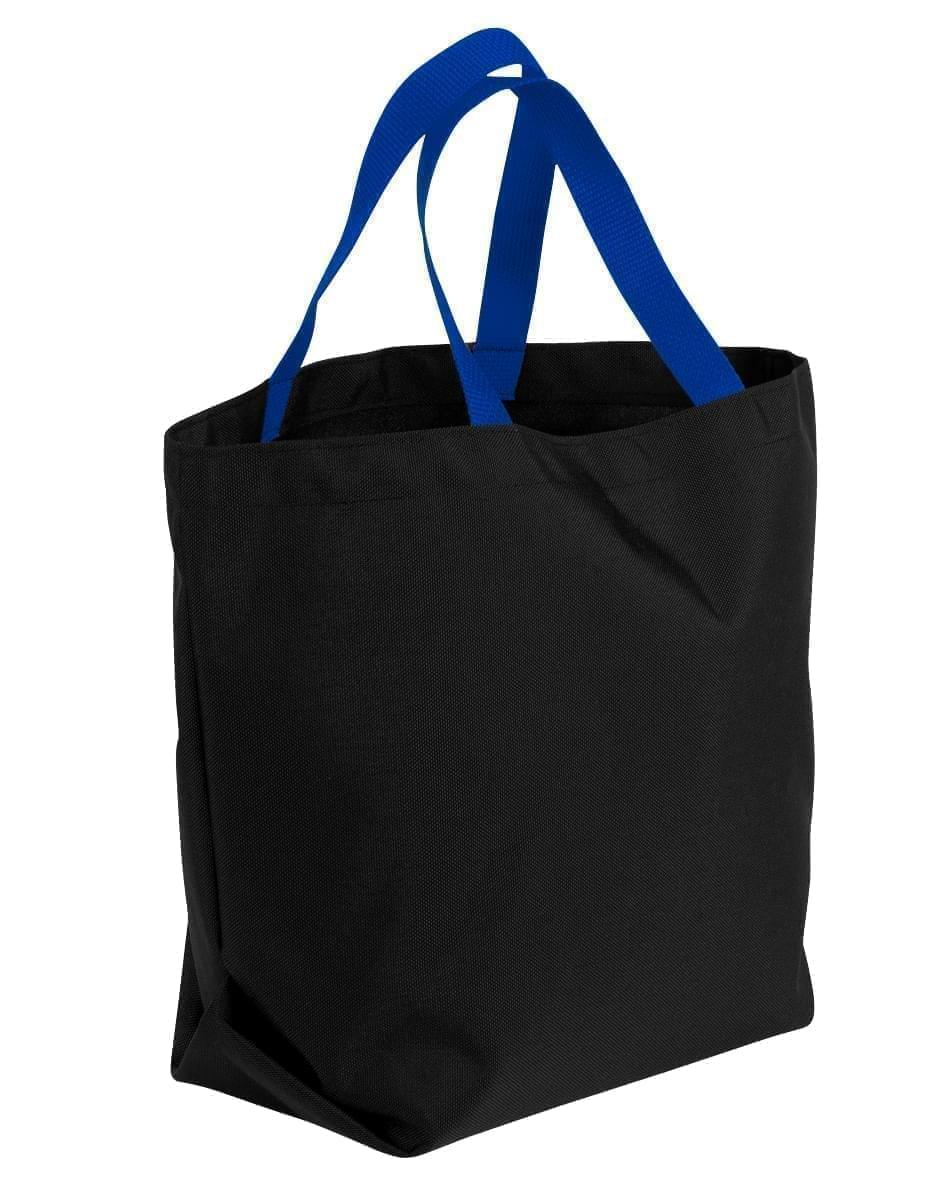 USA Made Poly Convention Expo Tote Bags, Black-Royal Blue, 2BAD31UAO3