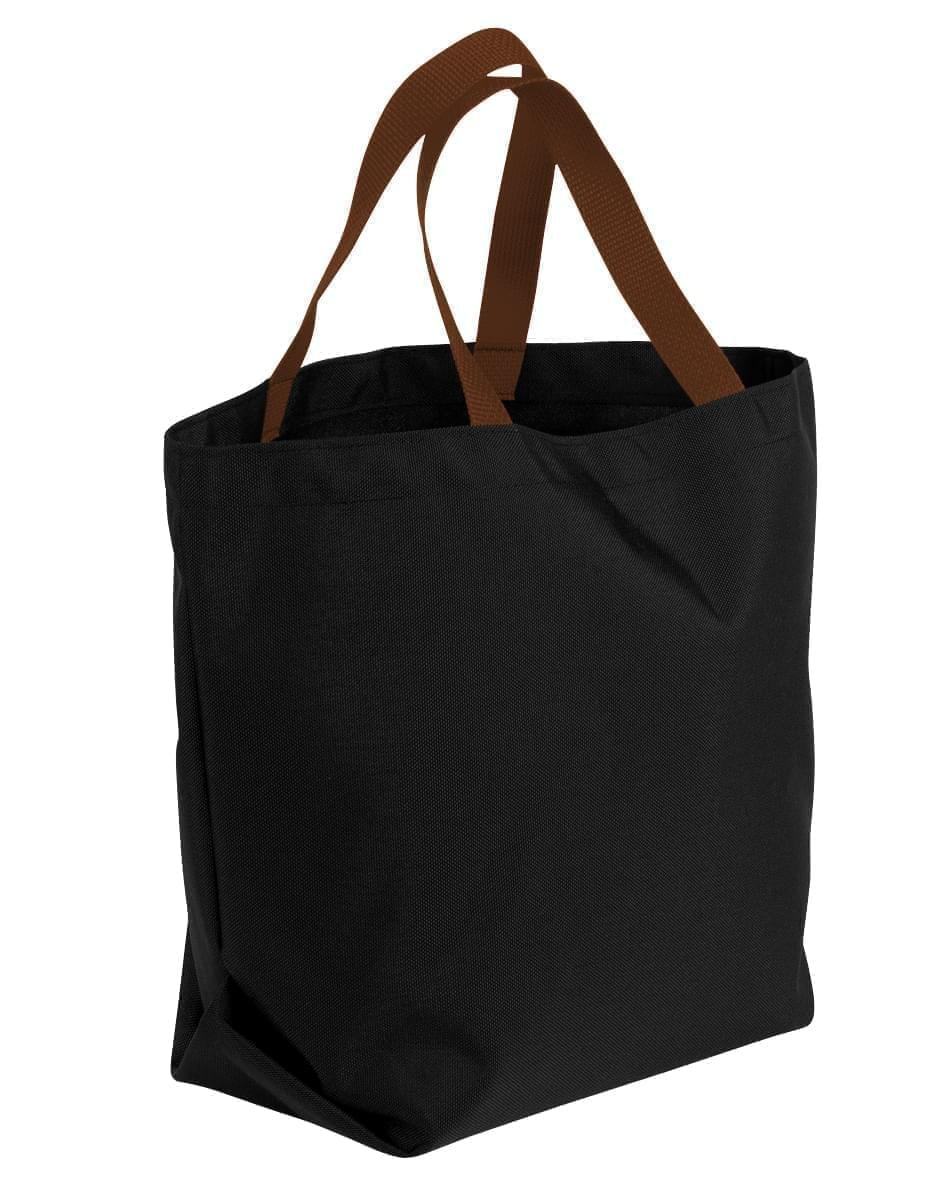USA Made Poly Convention Expo Tote Bags, Black-Brown, 2BAD31UAOS