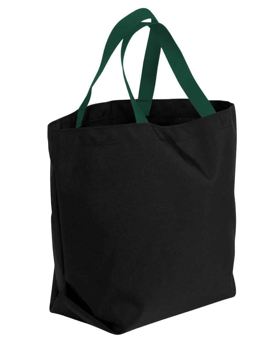 USA Made Poly Convention Expo Tote Bags, Black-Hunter Green, 2BAD31UAOV