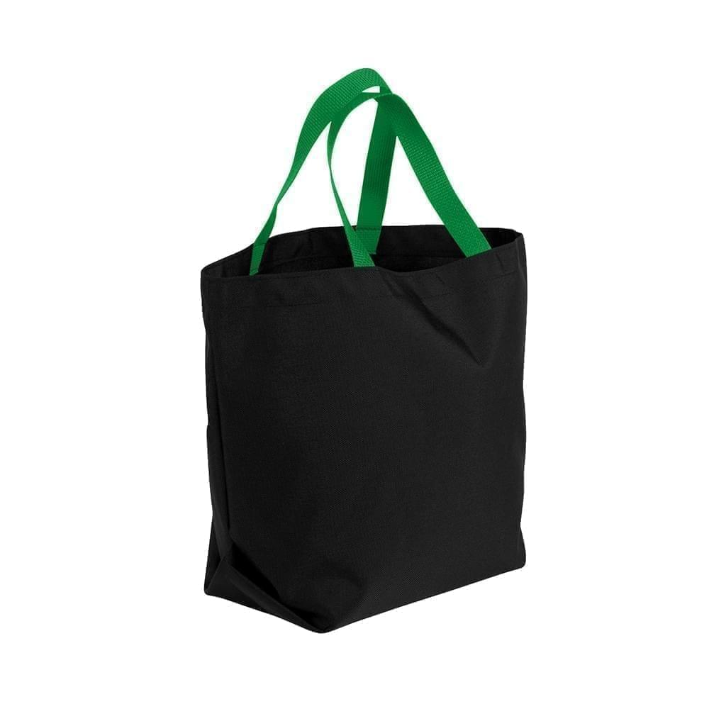 USA Made Poly Convention Expo Tote Bags, Black-Kelly Green, 2BAD31UAOW