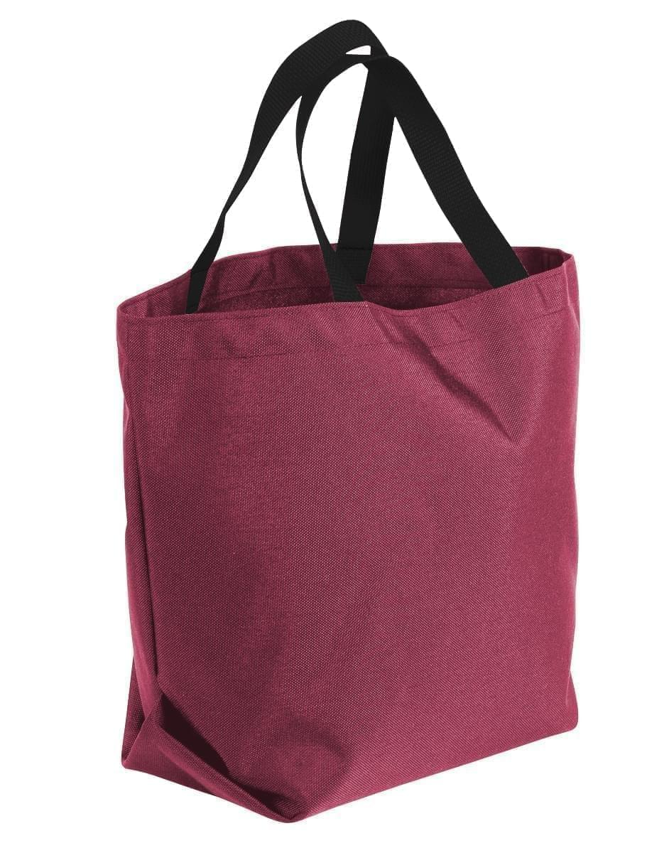 USA Made Poly Convention Expo Tote Bags, Burgundy-Black, 2BAD31UAQR