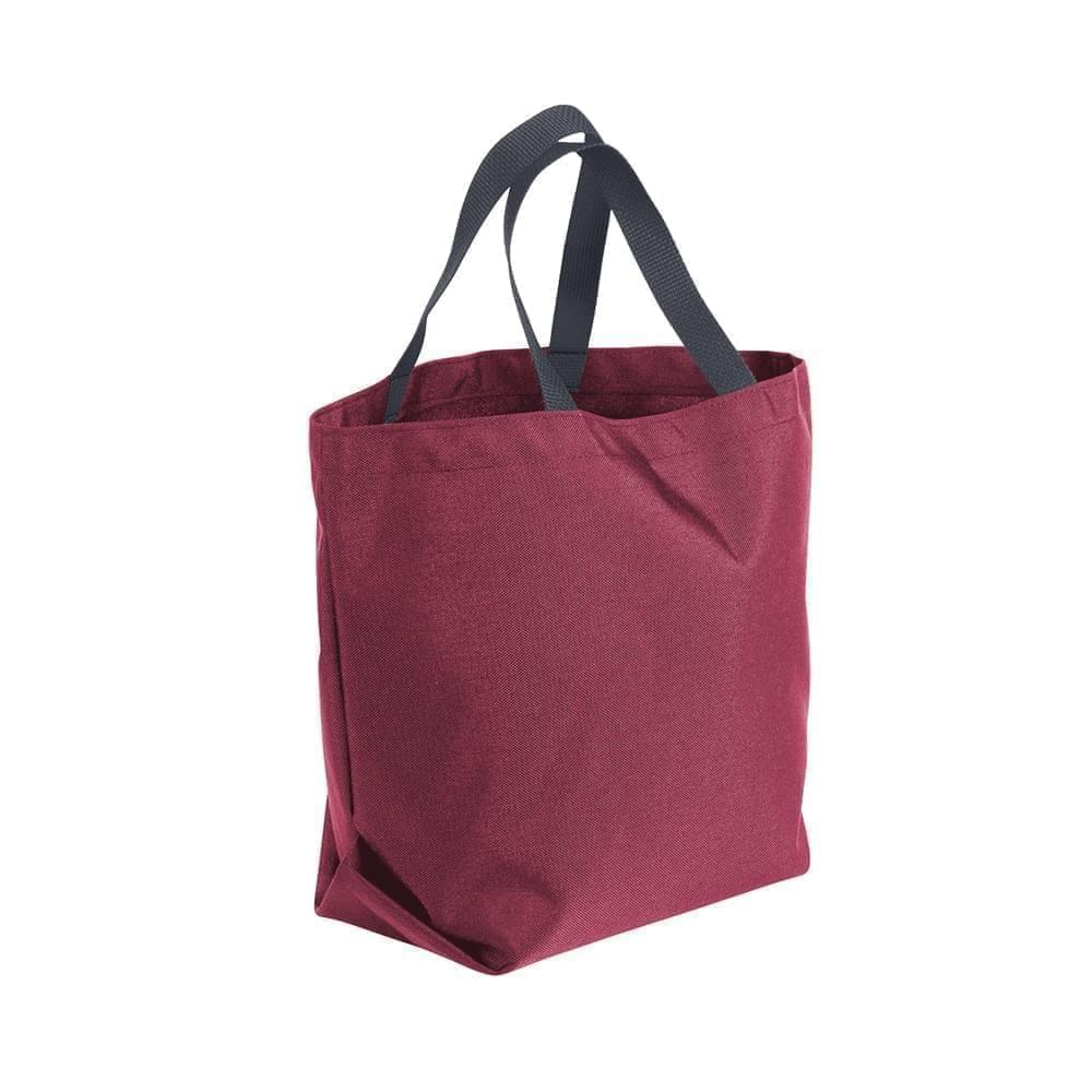 USA Made Poly Convention Expo Tote Bags, Burgundy-Graphite, 2BAD31UAQT