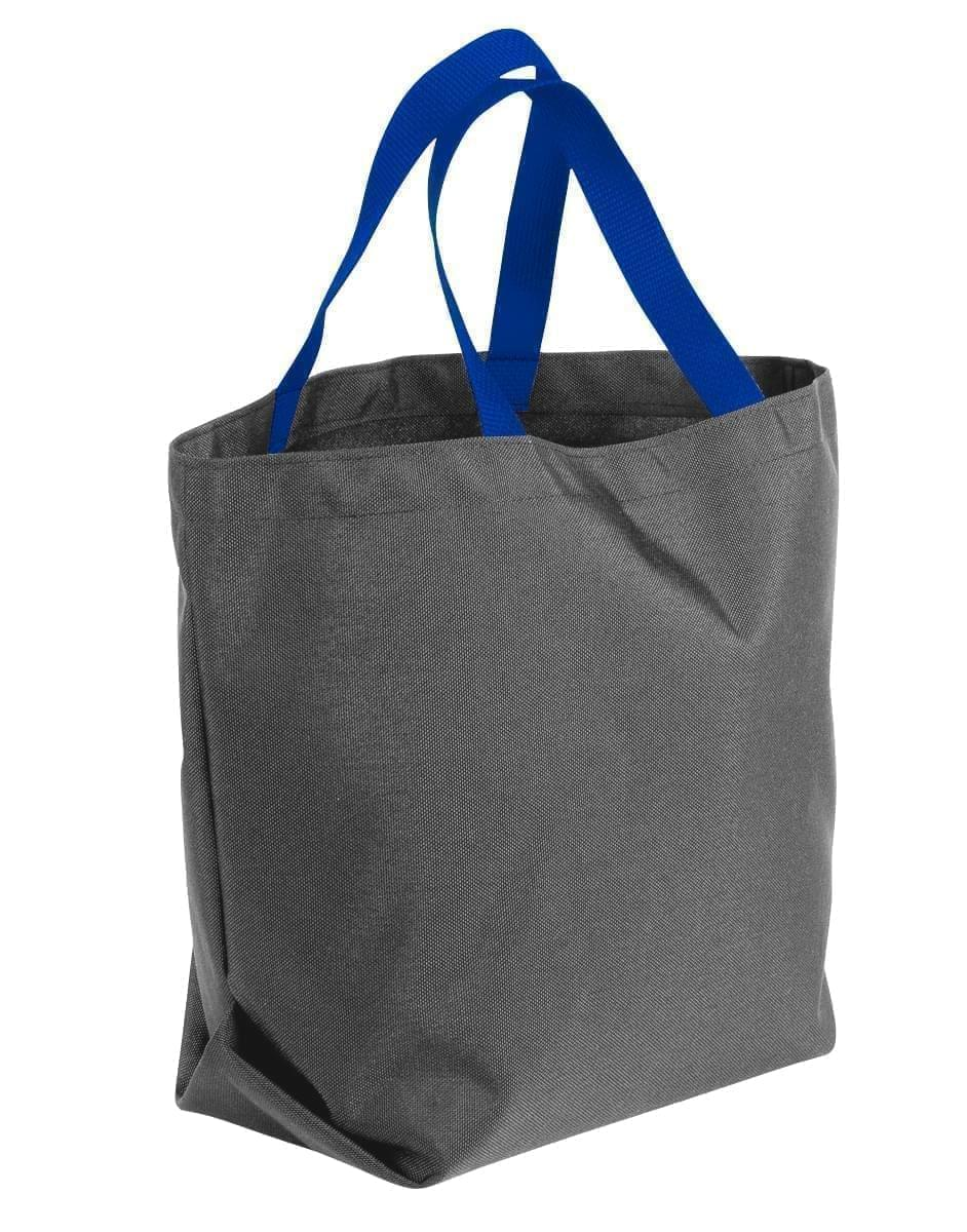 USA Made Poly Convention Expo Tote Bags, Graphite-Royal Blue, 2BAD31UAR3