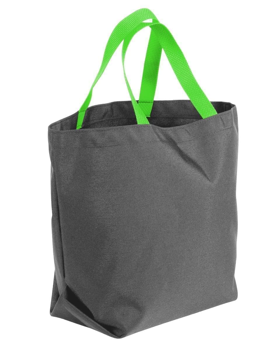 USA Made Poly Convention Expo Tote Bags, Graphite-Lime, 2BAD31UARY