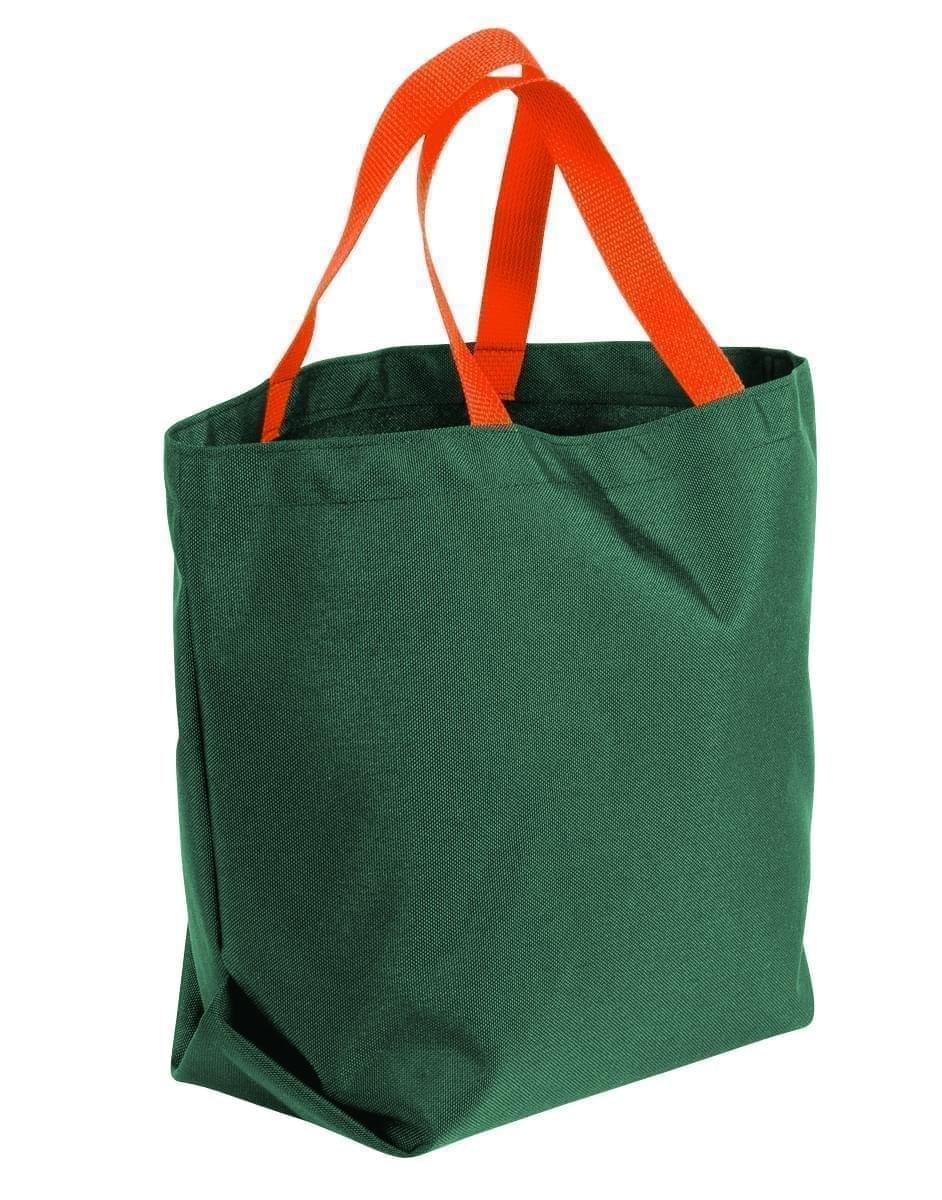 USA Made Poly Convention Expo Tote Bags, Hunter Green-Orange, 2BAD31UAS0