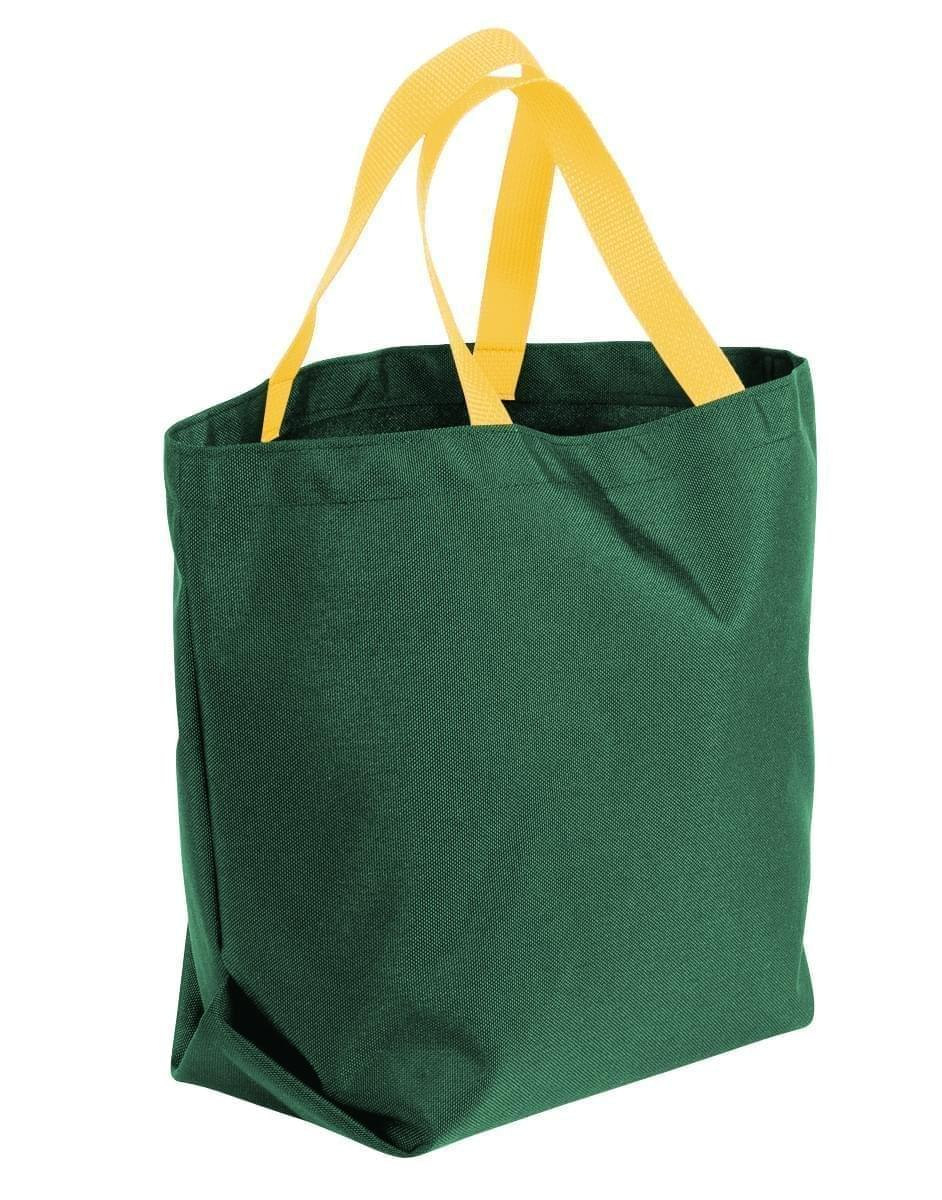 USA Made Poly Convention Expo Tote Bags, Hunter Green-Gold, 2BAD31UAS5