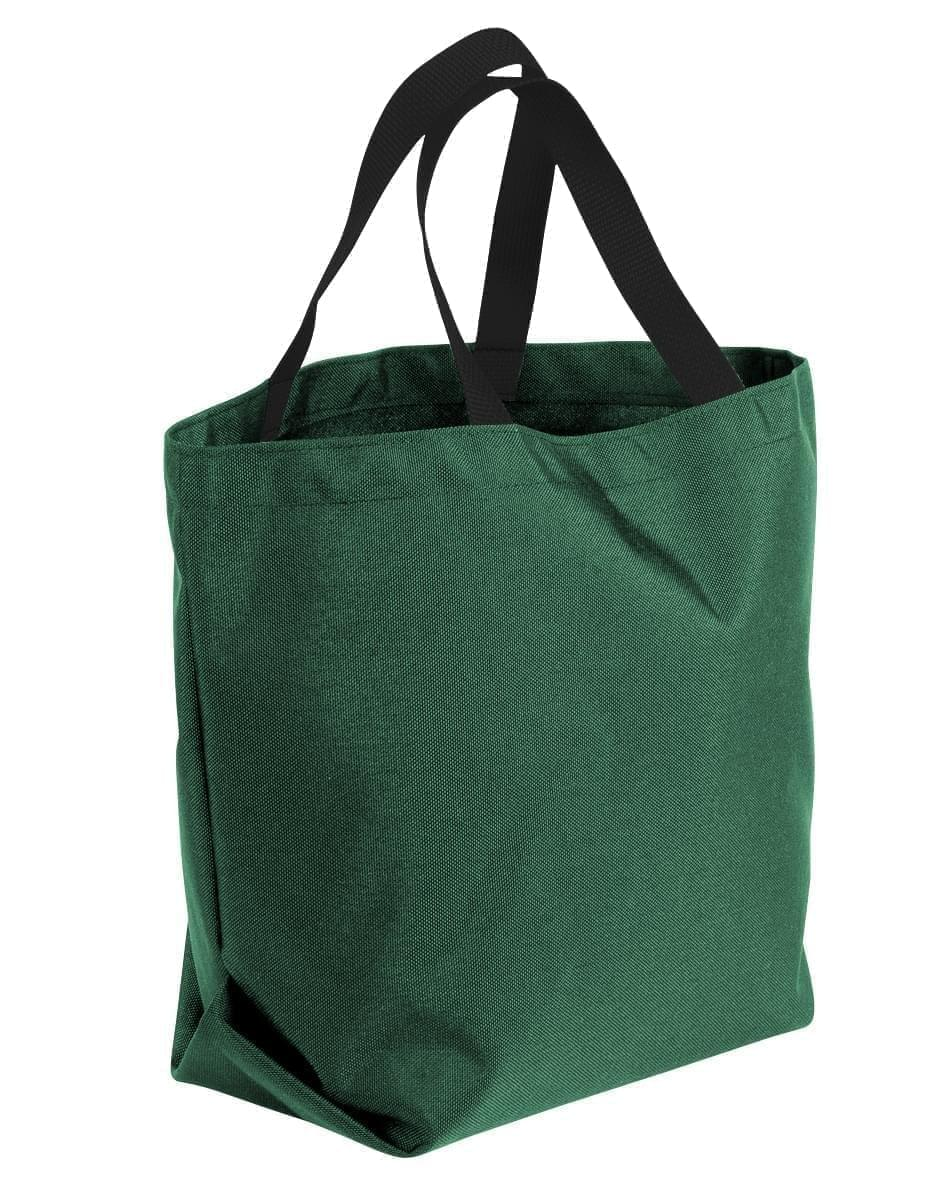 USA Made Poly Convention Expo Tote Bags, Hunter Green-Black, 2BAD31UASR