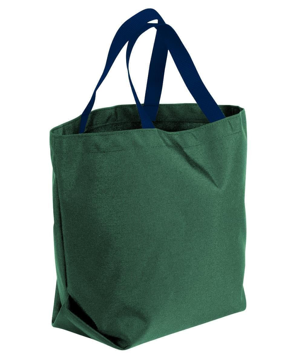 USA Made Poly Convention Expo Tote Bags, Hunter Green-Navy, 2BAD31UASZ