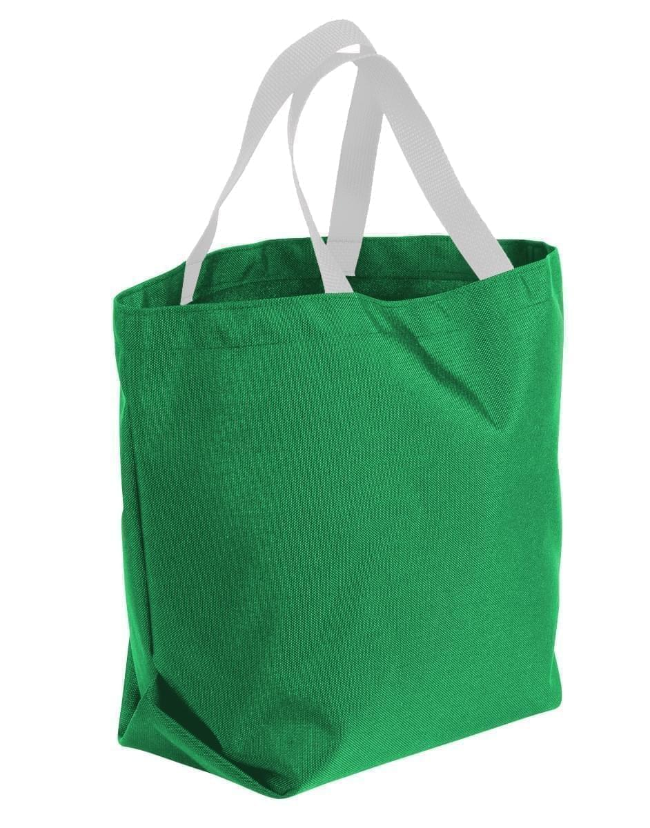 USA Made Poly Convention Expo Tote Bags, Kelly Green-White, 2BAD31UAT4