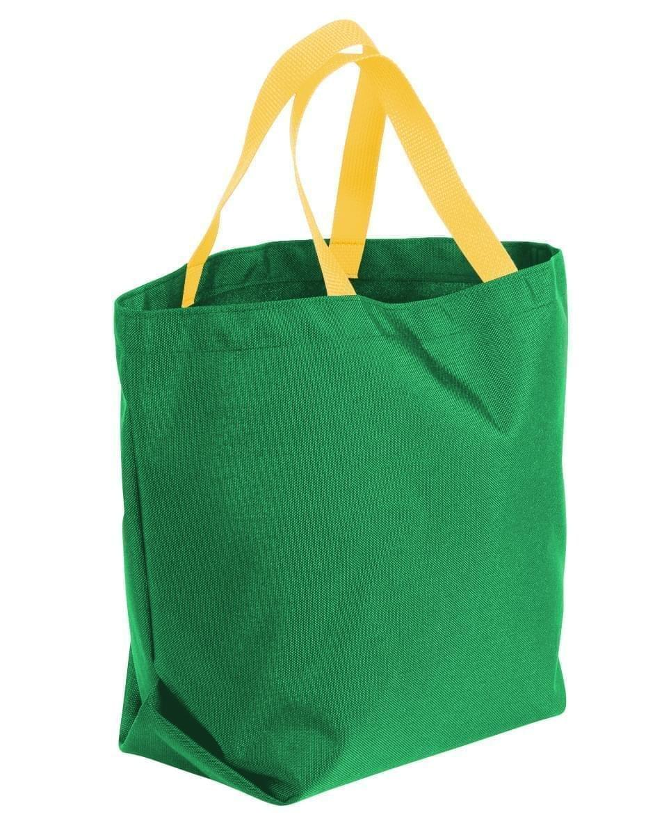 USA Made Poly Convention Expo Tote Bags, Kelly Green-Gold, 2BAD31UAT5