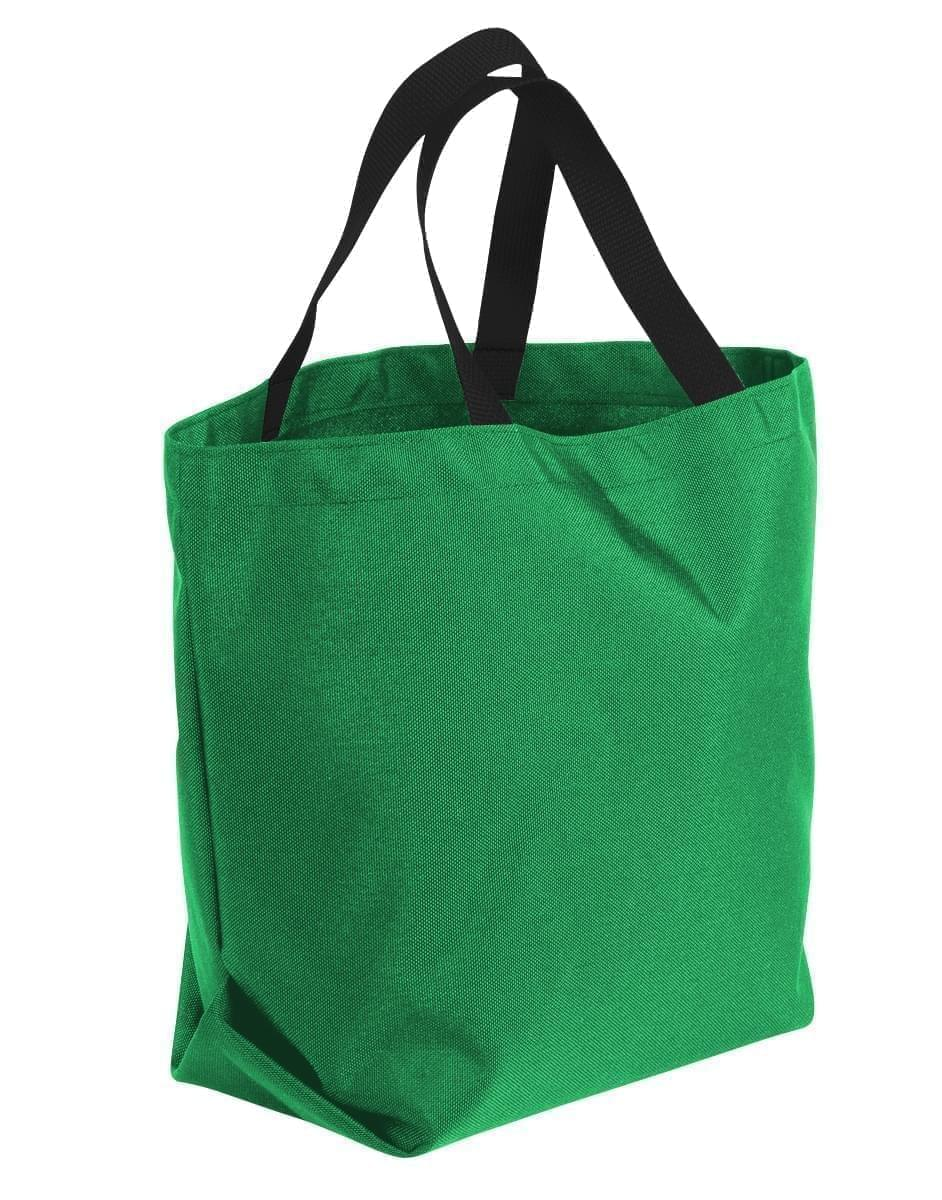 USA Made Poly Convention Expo Tote Bags, Kelly Green-Black, 2BAD31UATR