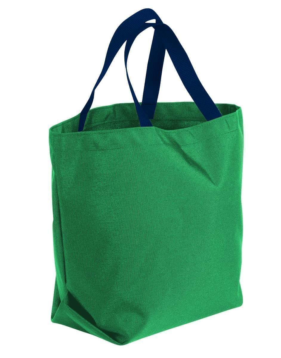 USA Made Poly Convention Expo Tote Bags, Kelly Green-Navy, 2BAD31UATZ