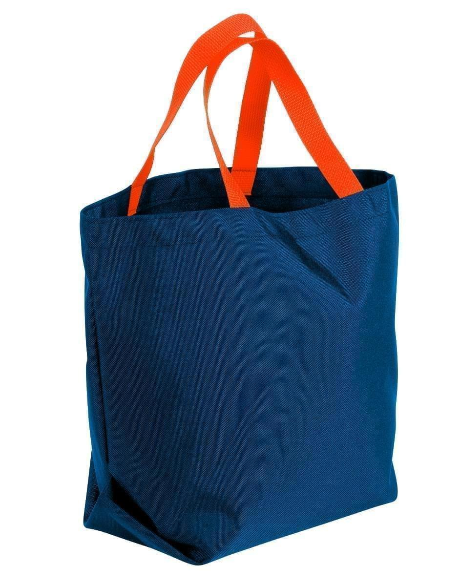 USA Made Poly Convention Expo Tote Bags, Navy-Orange, 2BAD31UAW0