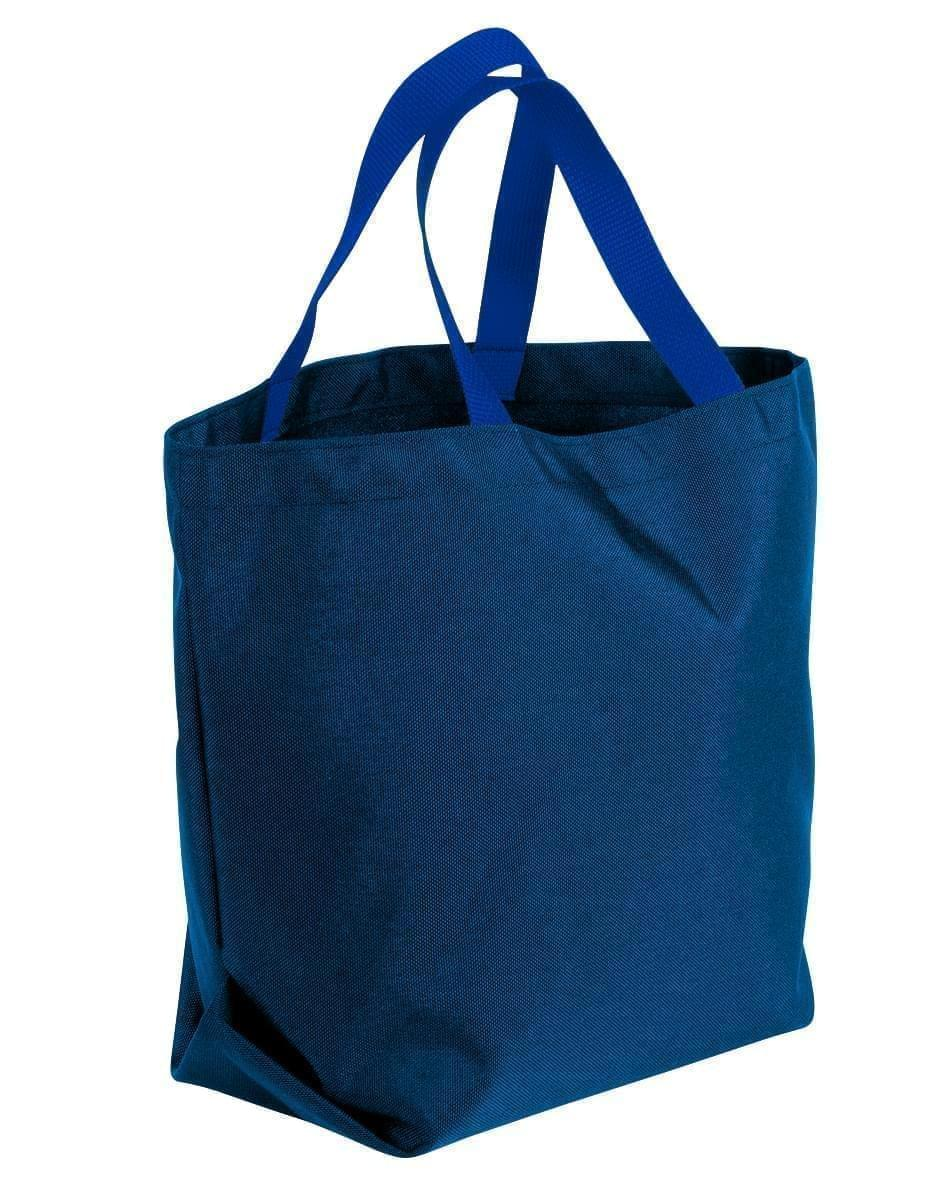 USA Made Poly Convention Expo Tote Bags, Navy-Royal Blue, 2BAD31UAW3
