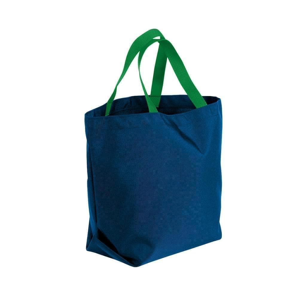 USA Made Poly Convention Expo Tote Bags, Navy-Kelly Green, 2BAD31UAWW