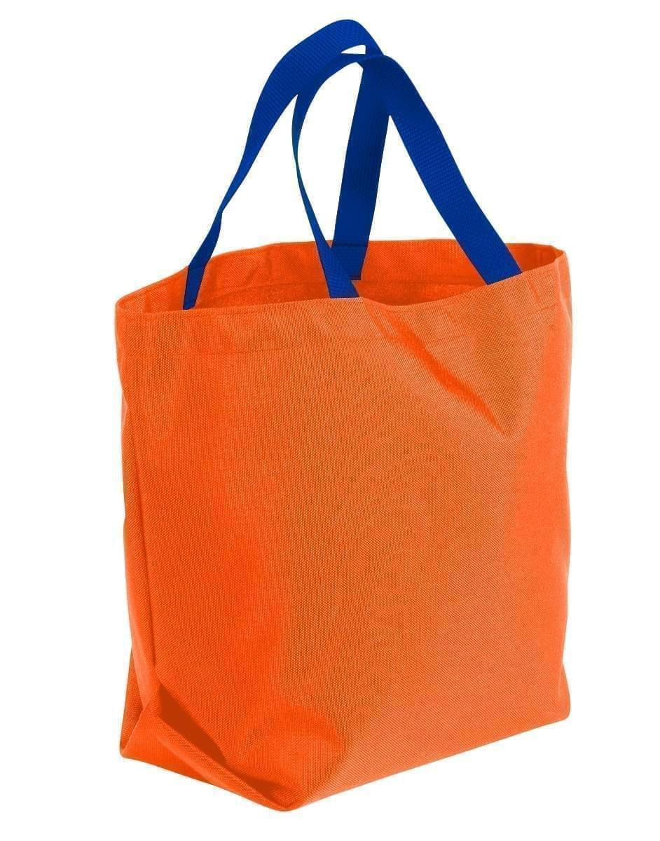USA Made Poly Convention Expo Tote Bags, Orange-Royal Blue, 2BAD31UAX3