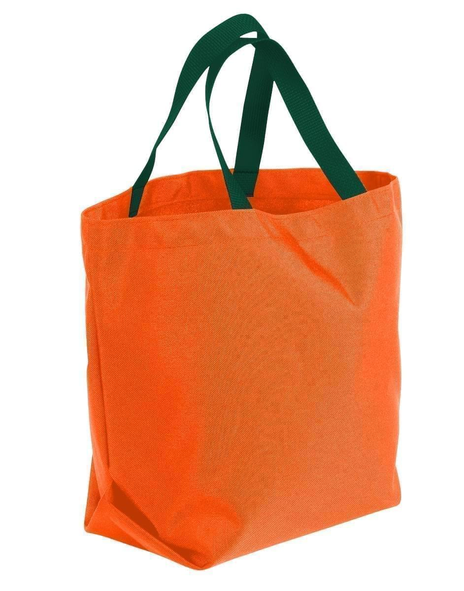 USA Made Poly Convention Expo Tote Bags, Orange-Hunter Green, 2BAD31UAXV