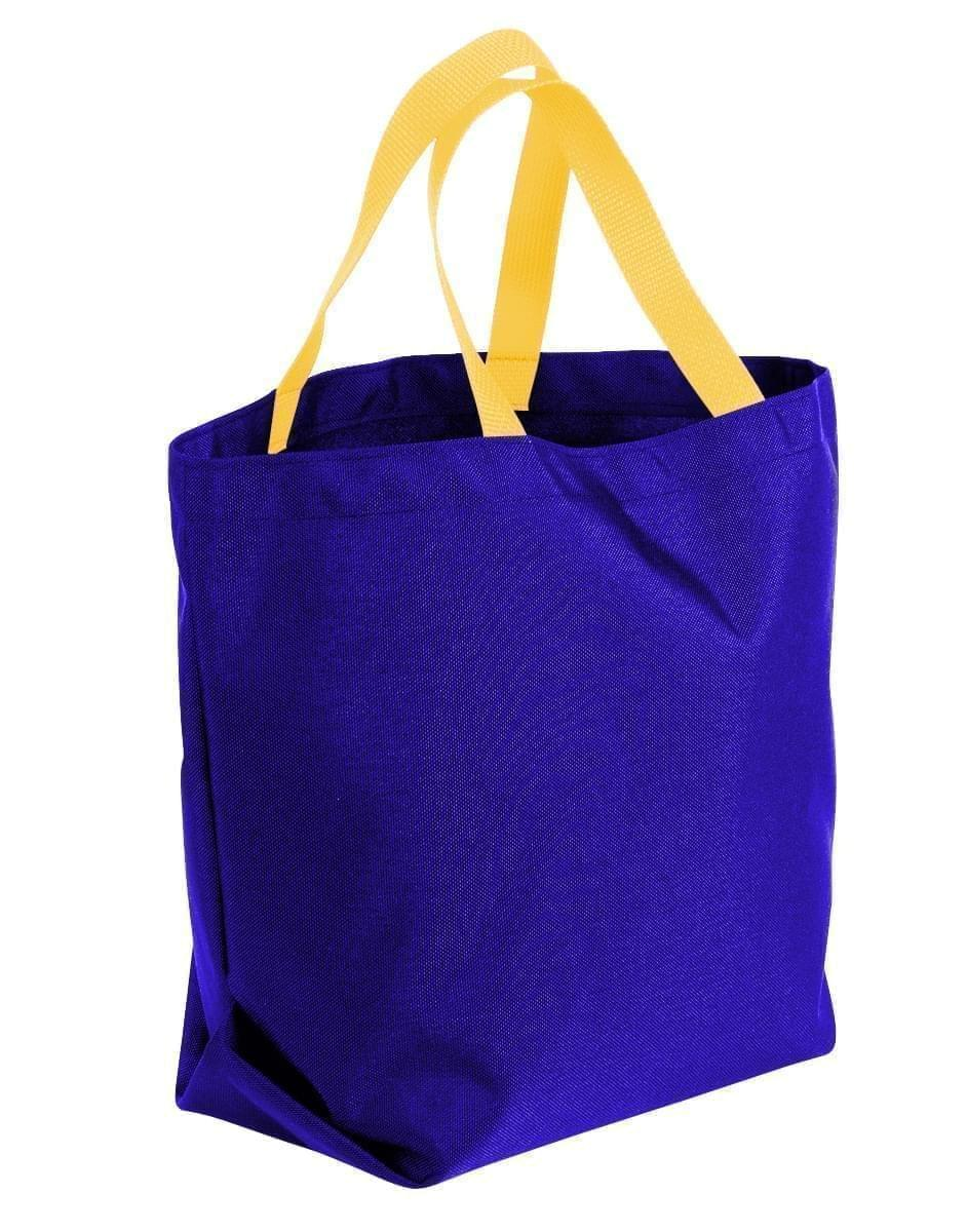 USA Made Poly Convention Expo Tote Bags, Purple-Gold, 2BAD31UAY5