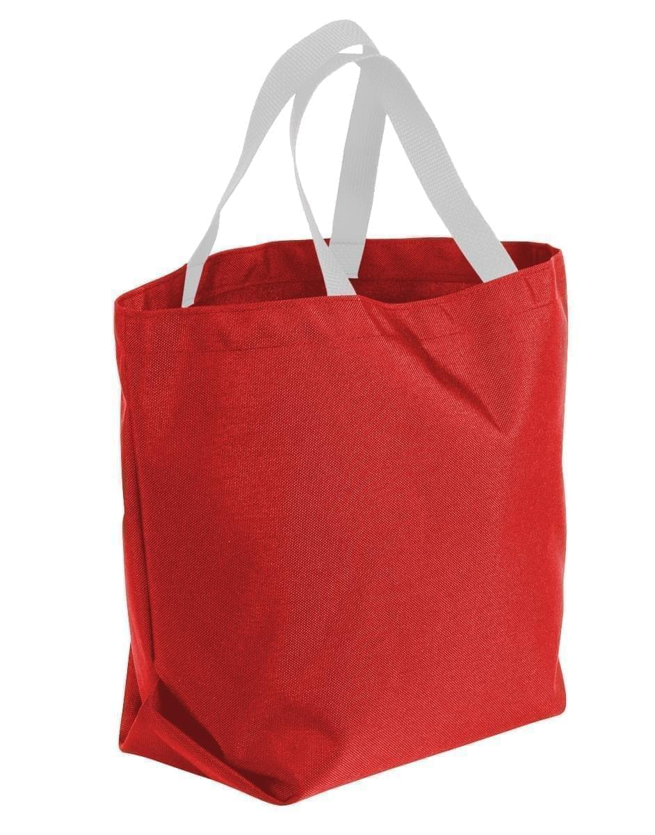 USA Made Poly Convention Expo Tote Bags, Red-White, 2BAD31UAZ4