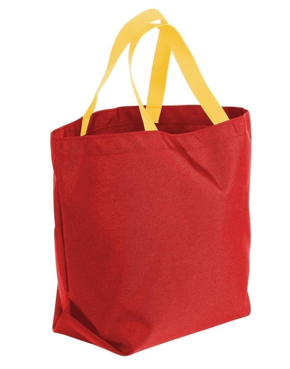 USA Made Poly Convention Expo Tote Bags, Red-Gold, 2BAD31UAZ5