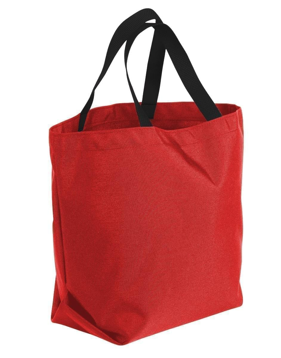 USA Made Poly Convention Expo Tote Bags, Red-Black, 2BAD31UAZR