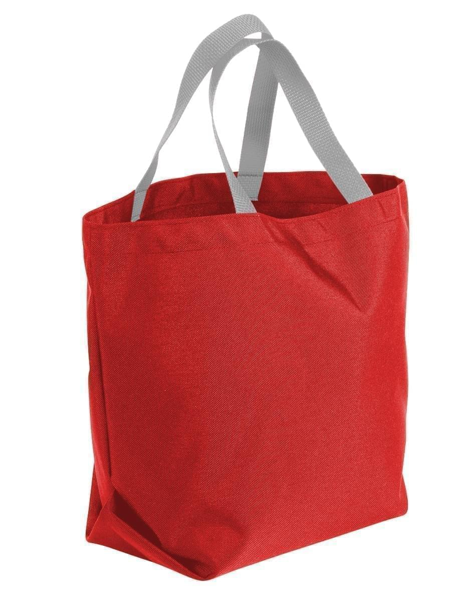 USA Made Poly Convention Expo Tote Bags, Red-Grey, 2BAD31UAZU