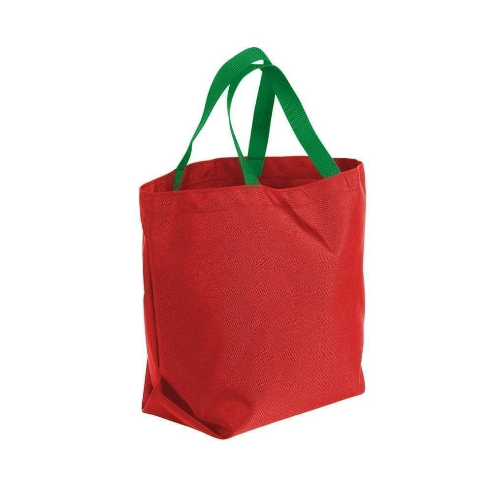 USA Made Poly Convention Expo Tote Bags, Red-Kelly Green, 2BAD31UAZW