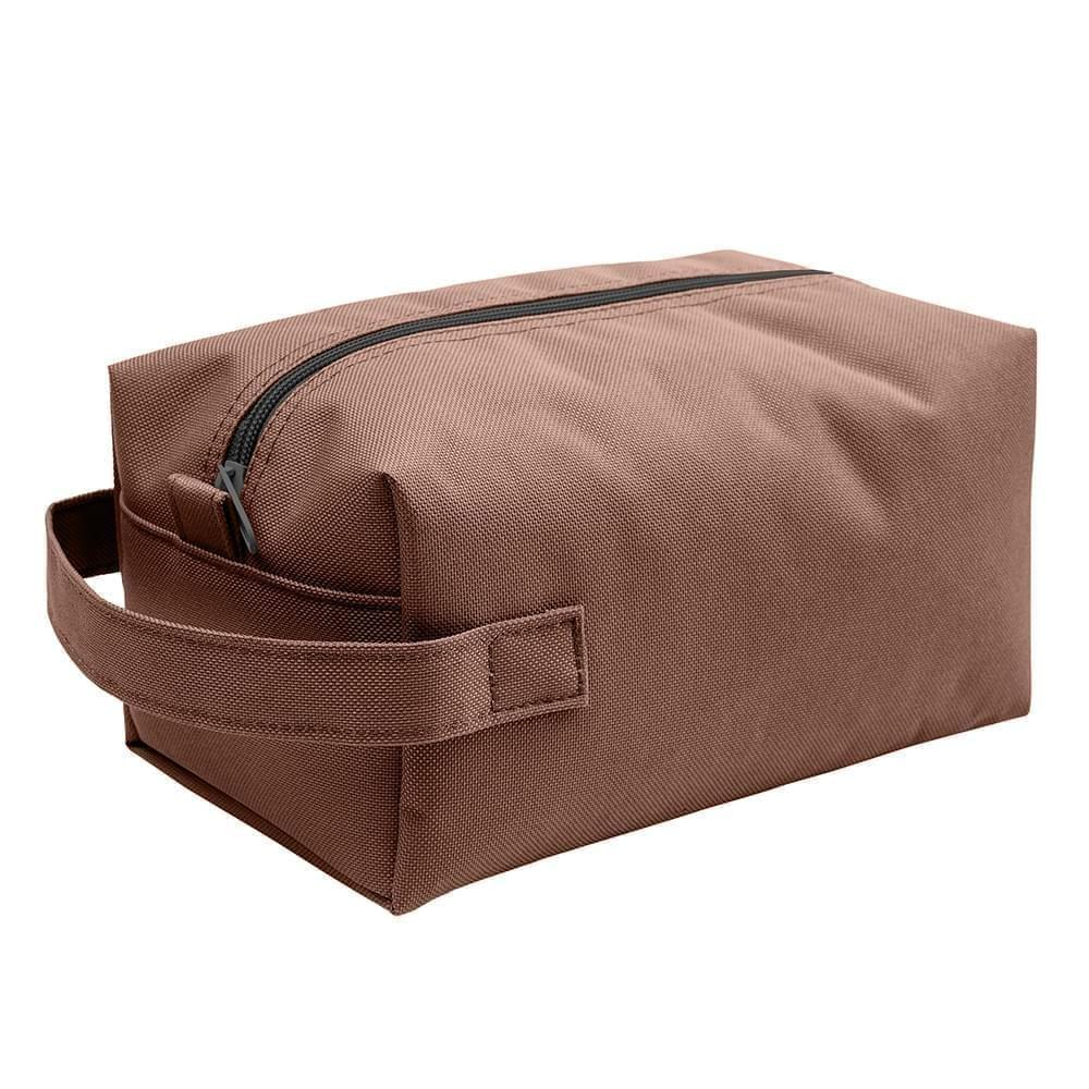 USA Made Nylon Poly Dopp Kits, Brown-Brown, 3001772-APD