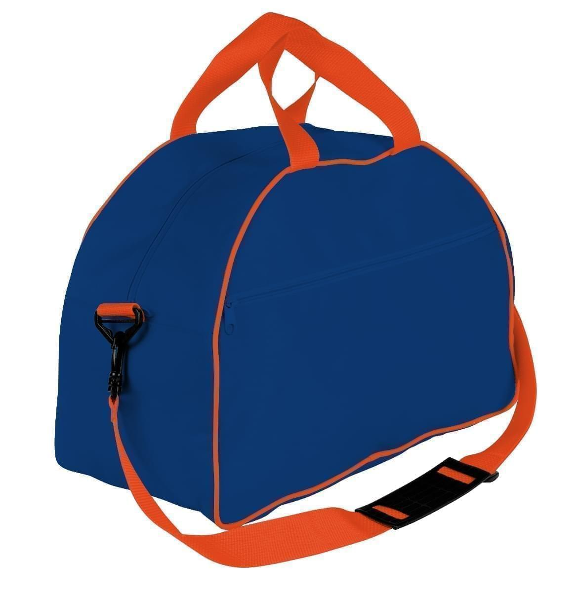 USA Made Nylon Poly Weekender Duffel Bags, Royal Blue-Orange, 6PKV32JA00