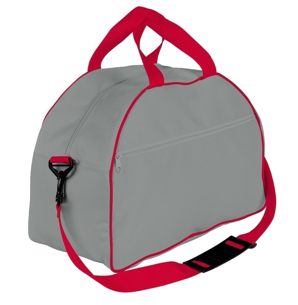 USA Made Nylon Poly Weekender Duffel Bags, Grey-Red, 6PKV32JA12