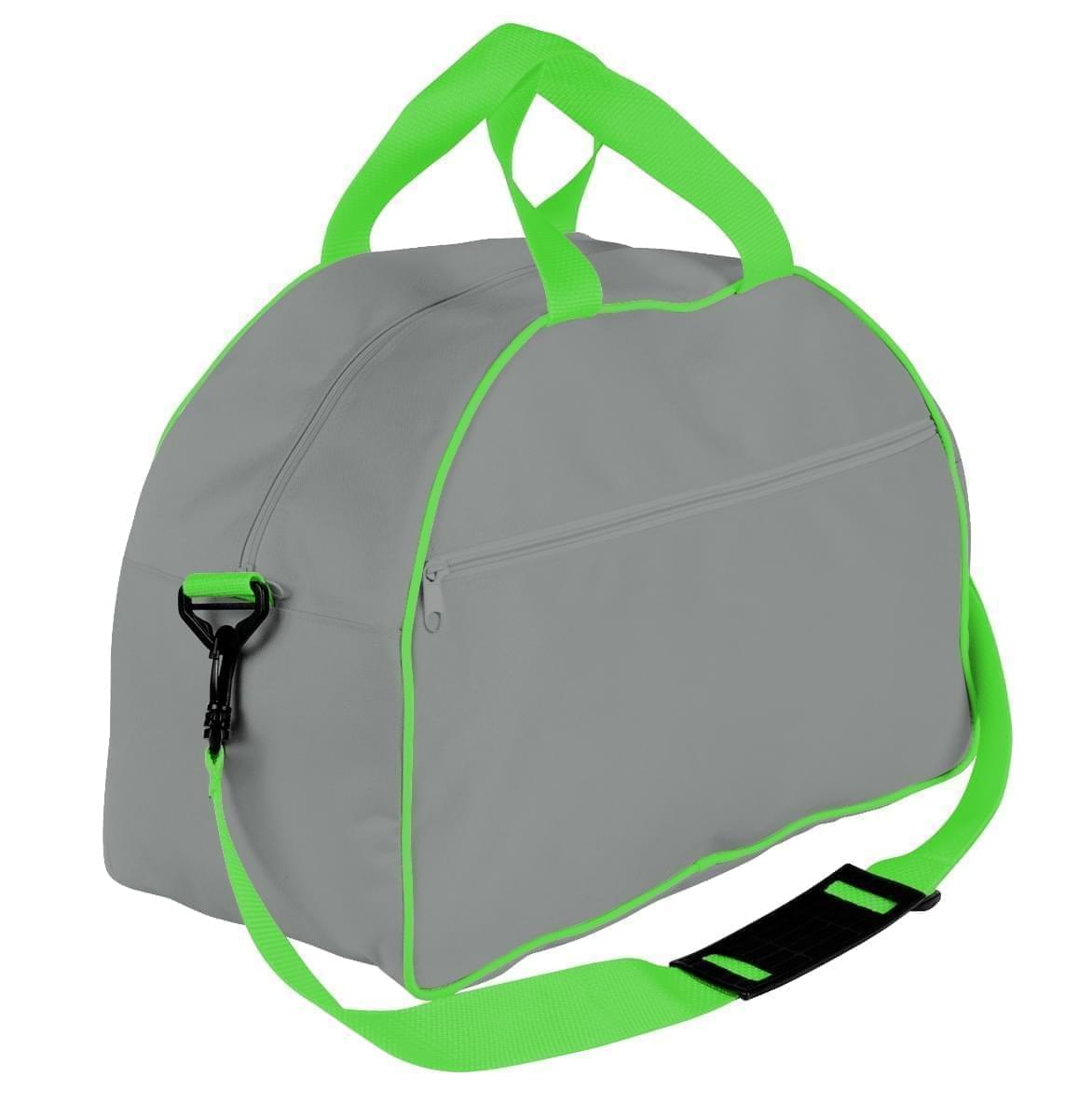 USA Made Nylon Poly Weekender Duffel Bags, Grey-Lime, 6PKV32JA1Y