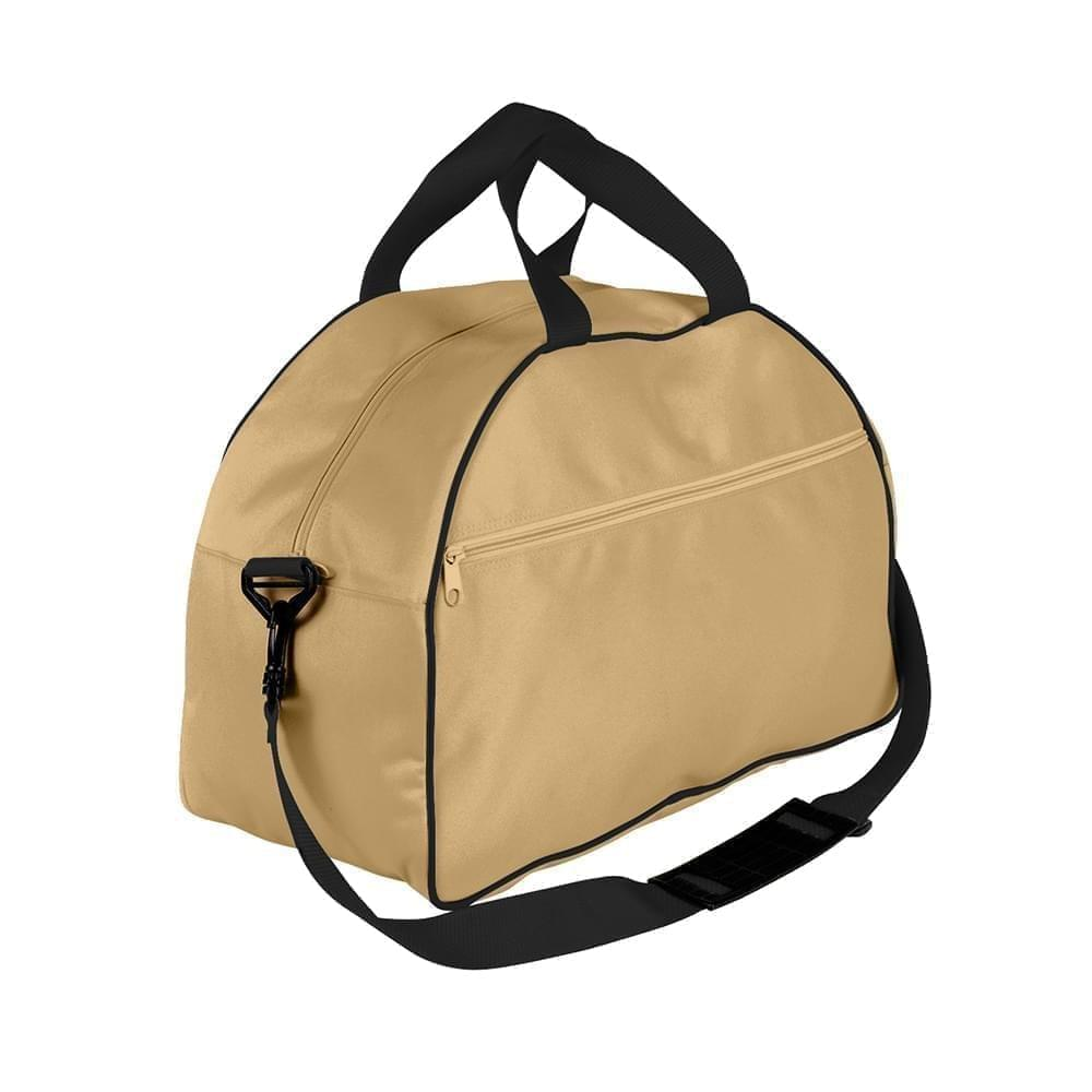 USA Made Nylon Poly Weekender Duffel Bags, Khaki-Black, 6PKV32JA2R