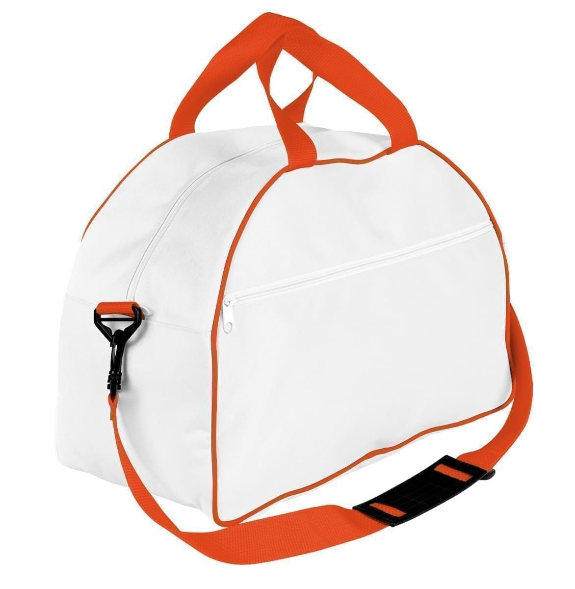 USA Made Nylon Poly Weekender Duffel Bags, White-Orange, 6PKV32JA30