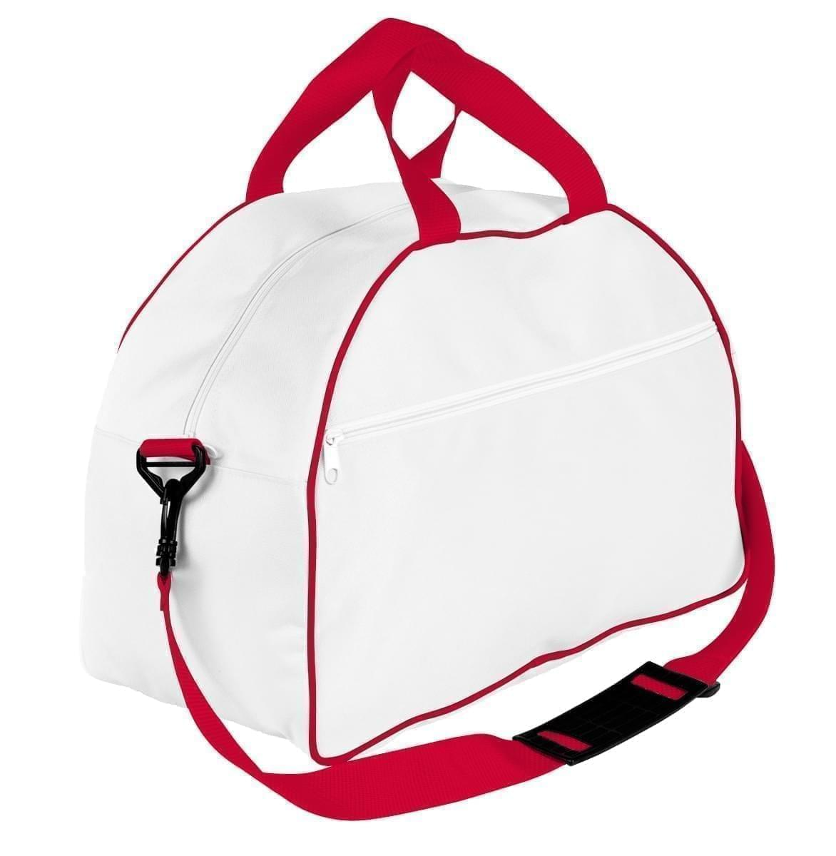 USA Made Nylon Poly Weekender Duffel Bags, White-Red, 6PKV32JA32