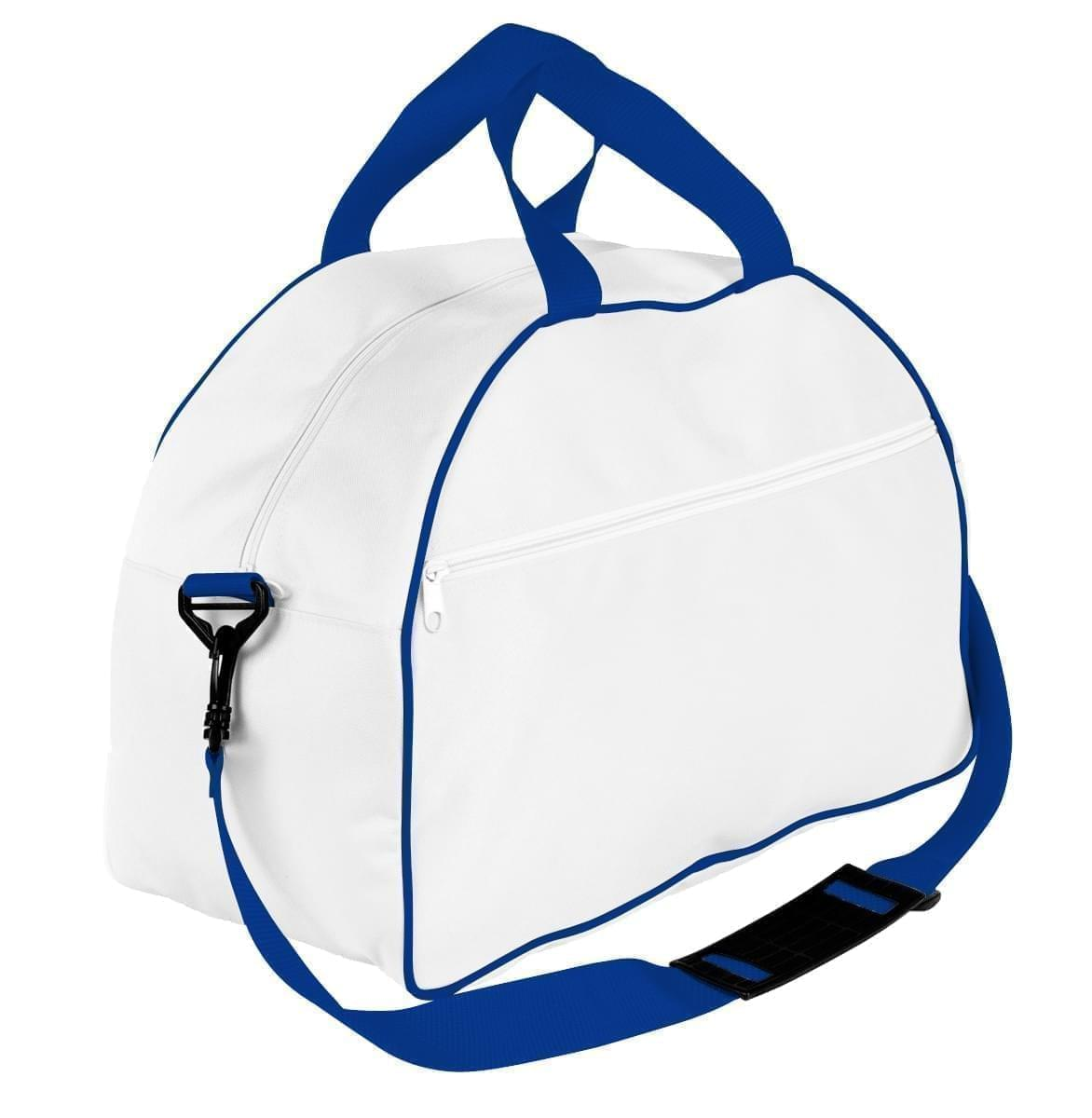 USA Made Nylon Poly Weekender Duffel Bags, White-Royal Blue, 6PKV32JA33