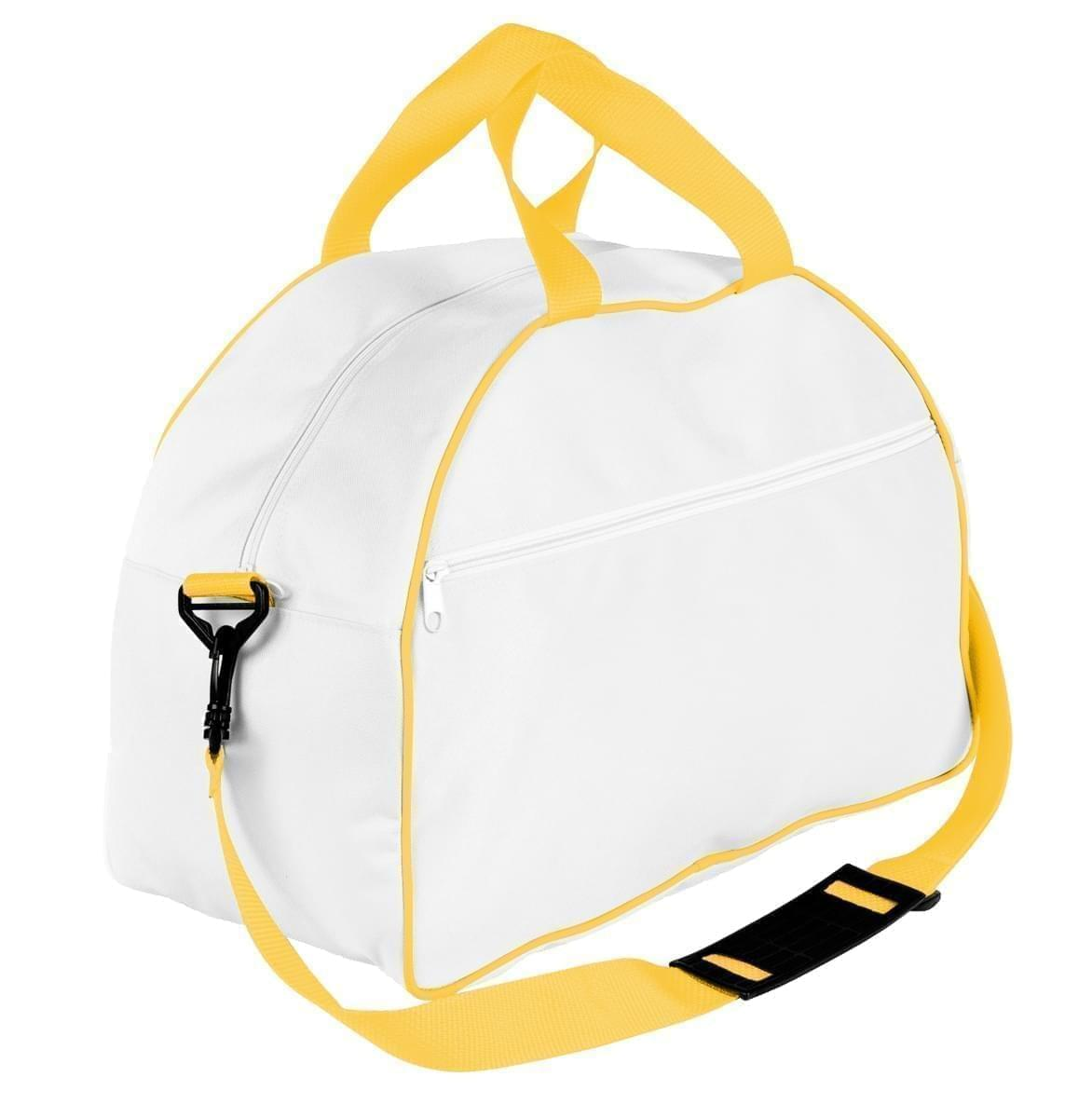 USA Made Nylon Poly Weekender Duffel Bags, White-Gold, 6PKV32JA35